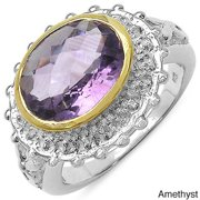 Malaika Sterling Silver Gold-banded Oval-cut Gemstone and White Topaz Ring Amethyst Size 6