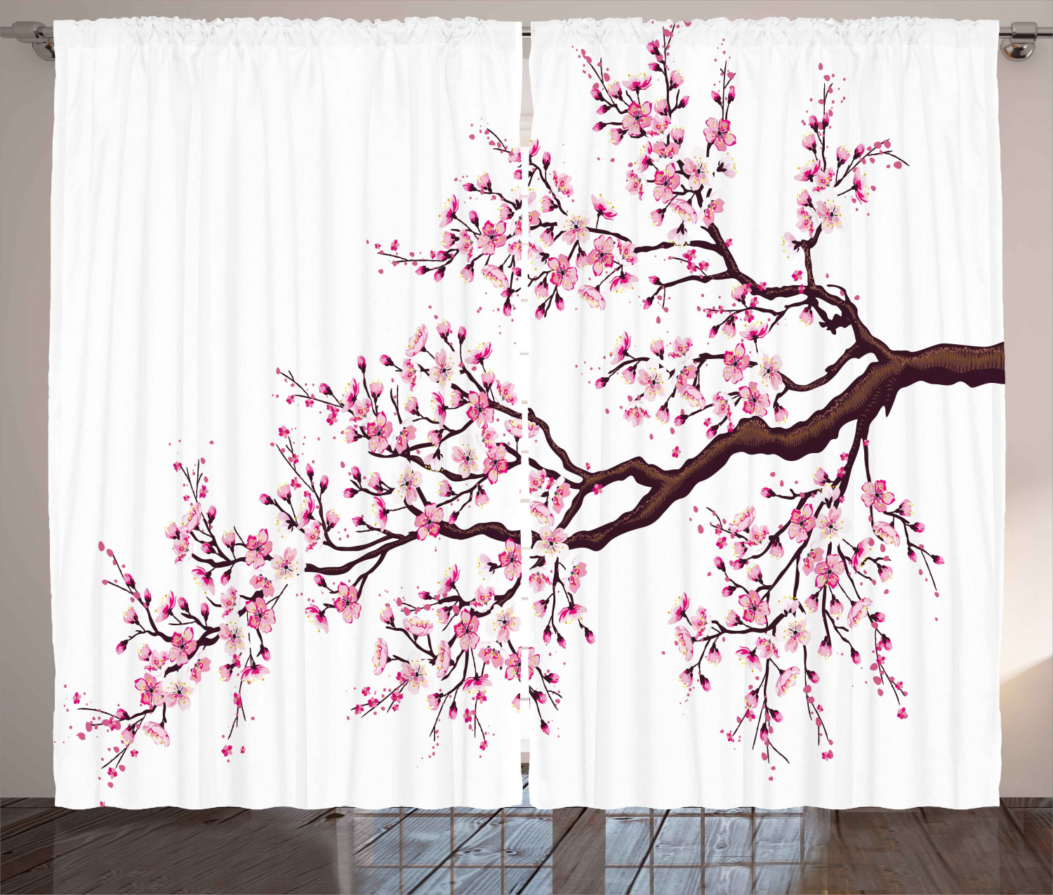Japanese Curtains 2 Panels Set Branch Of A Flourishing Sakura Tree Flowers Cherry Blossoms Spring Theme Art Window Drapes For Living Room Bedroom 108w X 108l Inches Pink Dark Brown By Ambesonne