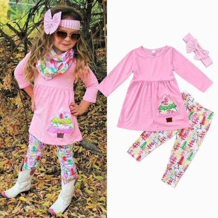 Fashion Toddler Kids Baby Girls Christmas Outfit Clothes Tops T Shirt+Long Pants Set - Children Christmas Clothing