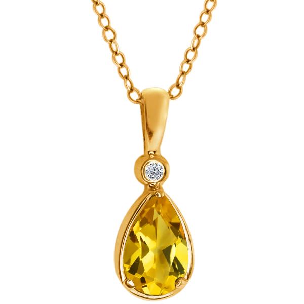 0.66 Ct Pear Shape Yellow Citrine White Diamond 14K Yellow Gold Pendant