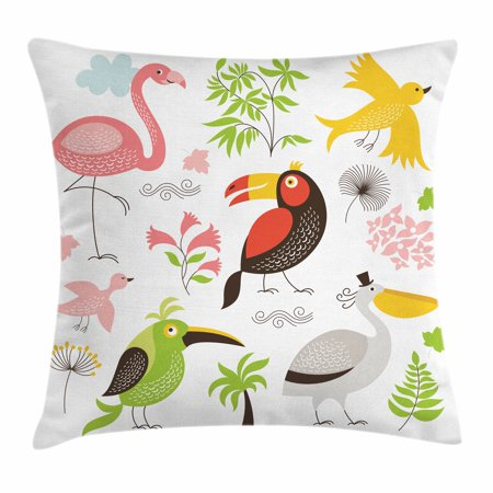 Birds Throw Pillow Cushion Cover, Tropical Themed Exotic Birds Alluring Keel-Billed Toucan Pinky Flamingo and Pelican, Decorative Square Accent Pillow Case, 18 X 18 Inches, Multicolor, by Ambesonne