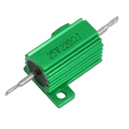 Ohm 25 Watt Wirewound Resistor - Green Aluminum Housed Clad Wirewound Resistor 5% 220 Ohm 25 Watt