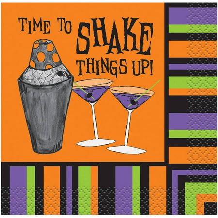 Time To Shake Things Up Halloween Paper Cocktail Napkins, 5 in, 16ct