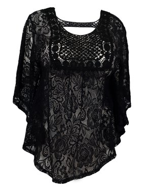 3f5c2b70654 Product Image eVogues Plus Size Sheer Crochet Floral Lace Poncho Top Black. eVogues  Apparel