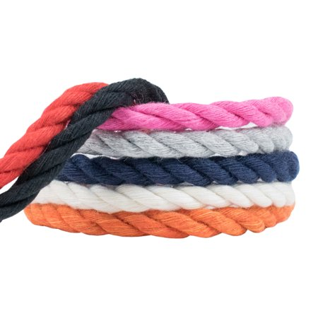 Triple Strand Leather - WCP Cotton Rope Soft Triple Strand 1/4 Inch Natural Artisian Cord in Various Colors and Sizes