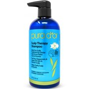 PURA D\'OR Scalp Therapy Shampoo for Dandruff and Itchy Scalp, Infused with Argan Oil, Tea Tree and Natural Ingredients, Sulfate Free, All Hair Types, Men & Women, 16 Fl Oz (Packaging may vary)