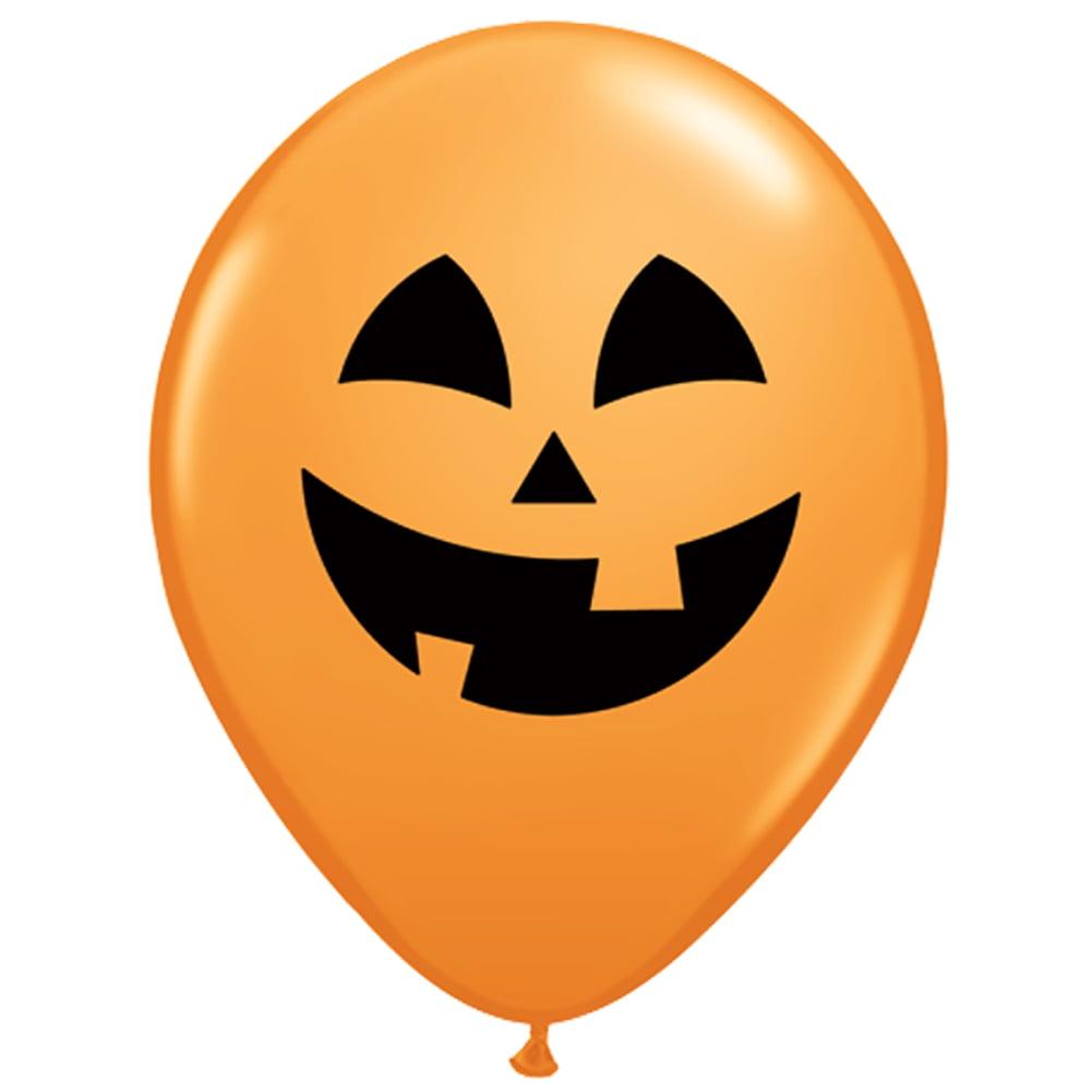 "Qualatex Halloween Jolly Jack-O-Lantern 11"" Latex Balloons, Orange, 24 CT"