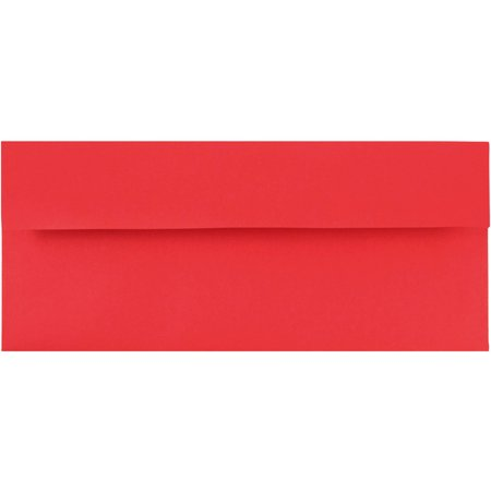 JAM Paper #10 Business Envelope, 4 1/8 x 9 1/2, Brite Hue Christmas Red, 50/pack - Red Envelopes