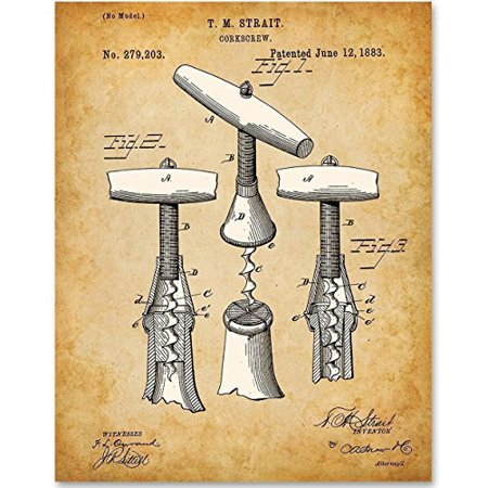 Wine Corkscrew Art - 11x14 Unframed Patent Print - Great Gift for Wine Lovers, Grottos and Wine Cellar Decor