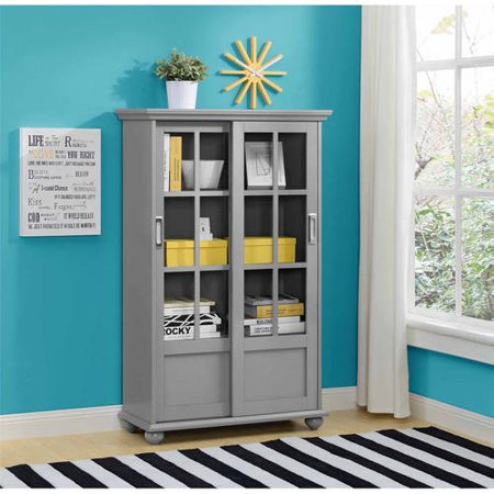Ameriwood Home Aaron Lane Bookcase With Sliding Glass Doors