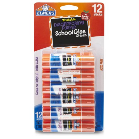 Elmer's Disappearing Purple Washable School Glue Sticks, 0.21 oz, 12 (Best Glue For Laminate)