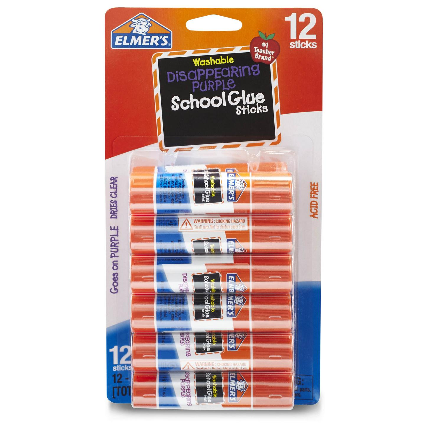 Elmer's Disappearing Purple Washable School Glue Sticks, 0.21 Ounces, 12 Count