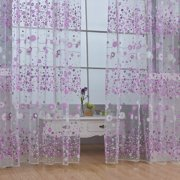 Mancro Embroidery Elegant Room Floral Pattern Voile Window Sheer Voile Panel Curtains Curtains For Living Room Stylish Floral Tulle Voile Door Window Curtain