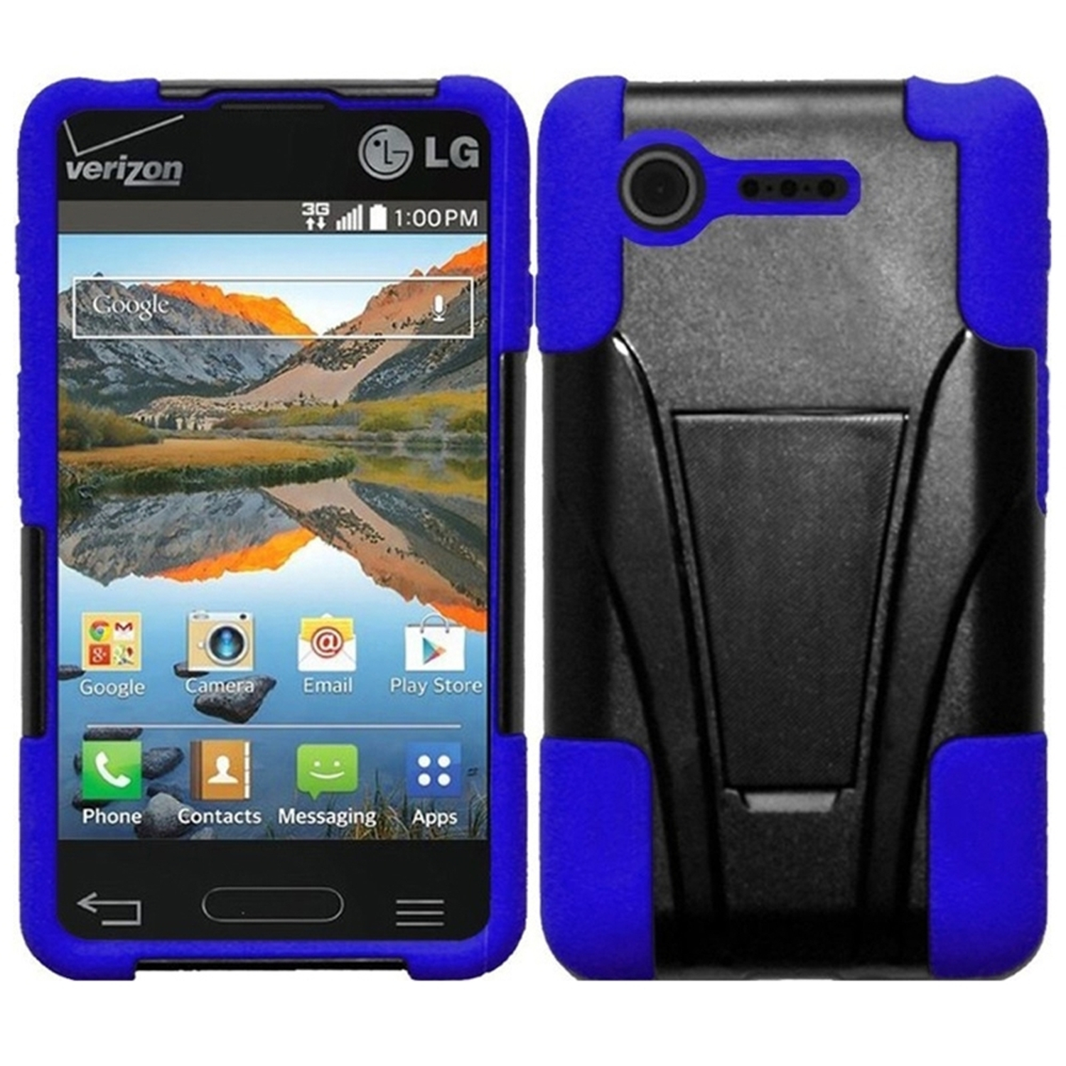 Insten Black Blue Hybrid Hard T-Stand Protective Case Skin For LG Optimus Zone 2 VS415PP L34C Fuel