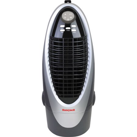 Honeywell Cs10xe 300 Cfm Indoor Evaporative Air Cooler  Swamp Cooler  With Remote Control In Silver Gray