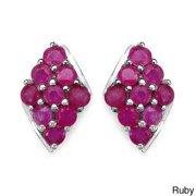 Sterling Silver Ruby and Tanzanite Stud Earrings Tanzanite