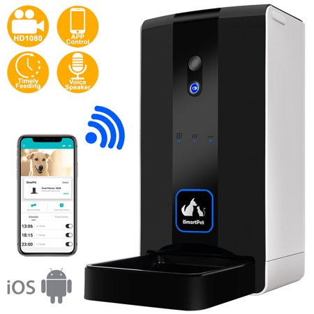 iSmartPet Automatic Pet Feeder HD 1080p Camera Wi-Fi Enabled Smart App Portion...