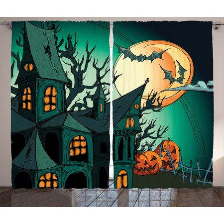 Halloween Decorations Curtains 2 Panels Set, Haunted Medieval Cartoon Bats in Twilight Gothic Fiction Spooky Art, Window Drapes for Living Room Bedroom, 108W X 84L Inches, Orange Teal, by Ambesonne - Halloween Haunts Cartoon 2