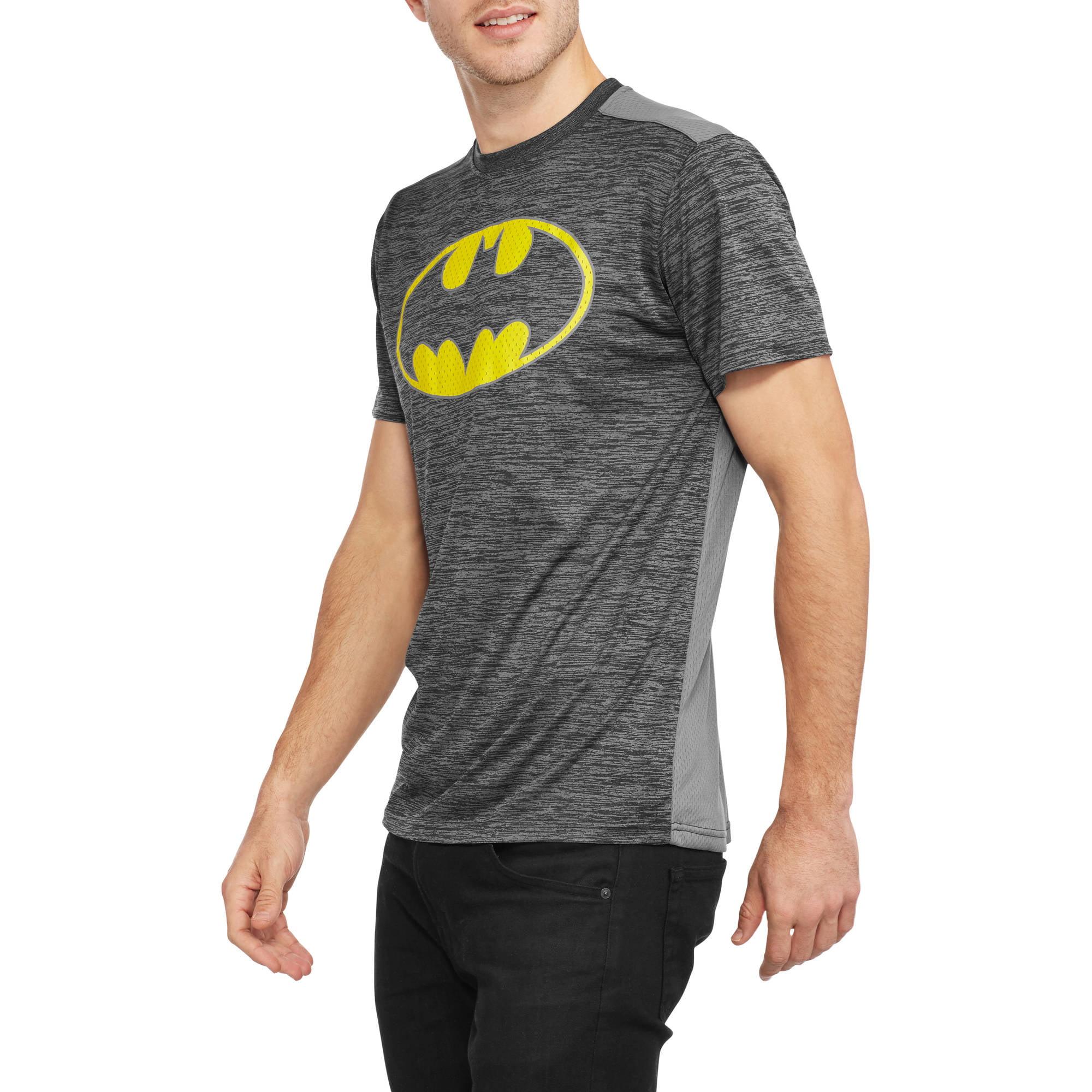 DC Comics Big Men's Batman Logo Poly Mesh Tee, 2XL by