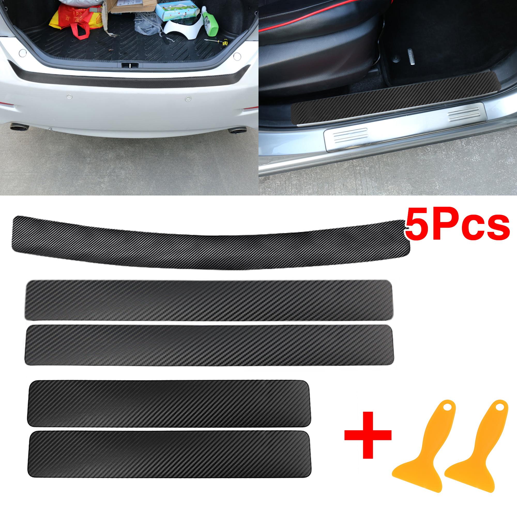 Matt Black Car Rear Bumper Sill Lip Cover Carbon Scuff Protect Sticker
