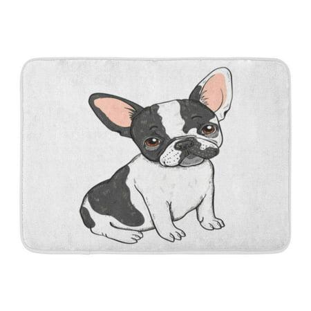 Pok Adorable Black Frenchie Of Cute Cartoon French Bulldog White Dog Animal Rug Doormat Bath Mat 23 6x15 7 Inch