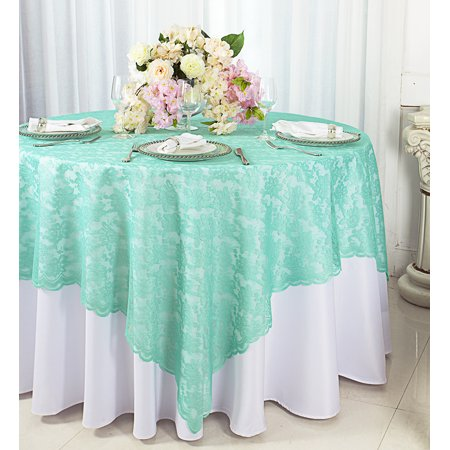 Lace Decorations (Wedding Linens Inc. 72 in x 72 in Lace Table Overlays, Lace Tablecloths Square, Lace Table Overlay Linens, Lace Table Toppers for Wedding Decorations, Events Banquet Party Supplies - Aqua)