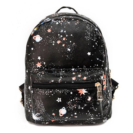 School Backpack, Coofit Mini Small Star Galaxy Portable Travel Purse Bookbags Faux Leather Daypack for Women Teenage Girls Boys Adults Black (Shoulder Bags For Teenage Girls)