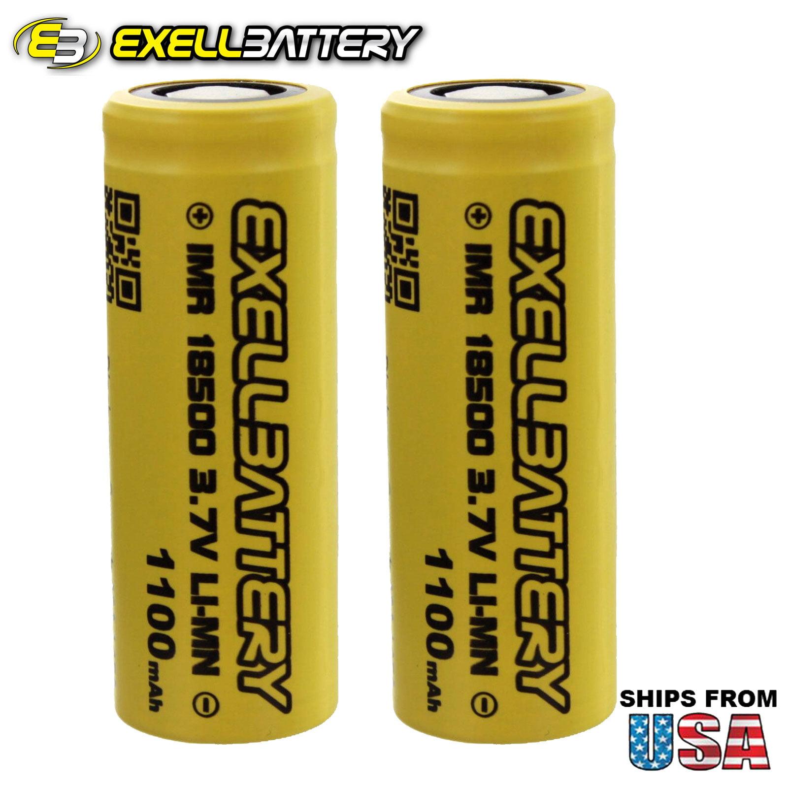 2pc IMR 18500 3.7V LI-MN High Drain 1100mAh 15A Rechargeable Batteries