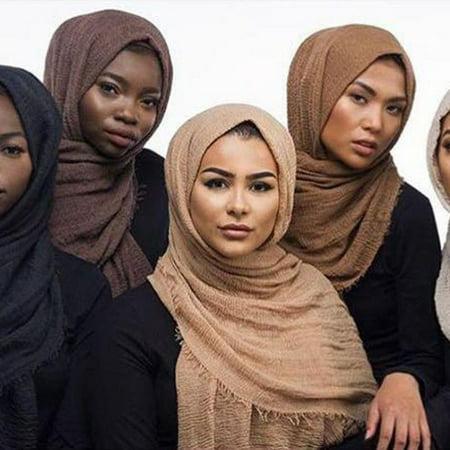 Women Cotton Bubble Plain Wrinkle Hijab Scarf Fringes Muslim muffler Pashmina New ()