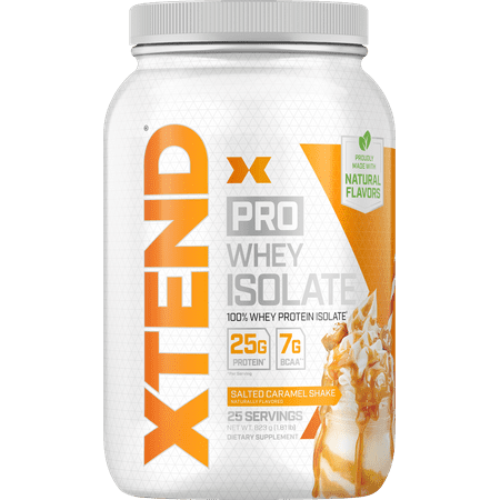 Xtend Pro 100% Whey Protein Isolate Powder with 7g BCAA & Natural Flavors, Keto Friendly, Gluten Free Low Fat Low Carb, 1.8lb, Salted Caramel