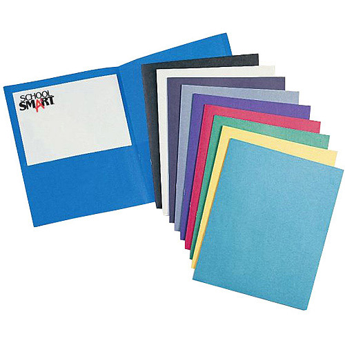 "School Smart Heavy Duty 2-Pocket Folder, 8.5"" x 11"", Black, 25-Pack"