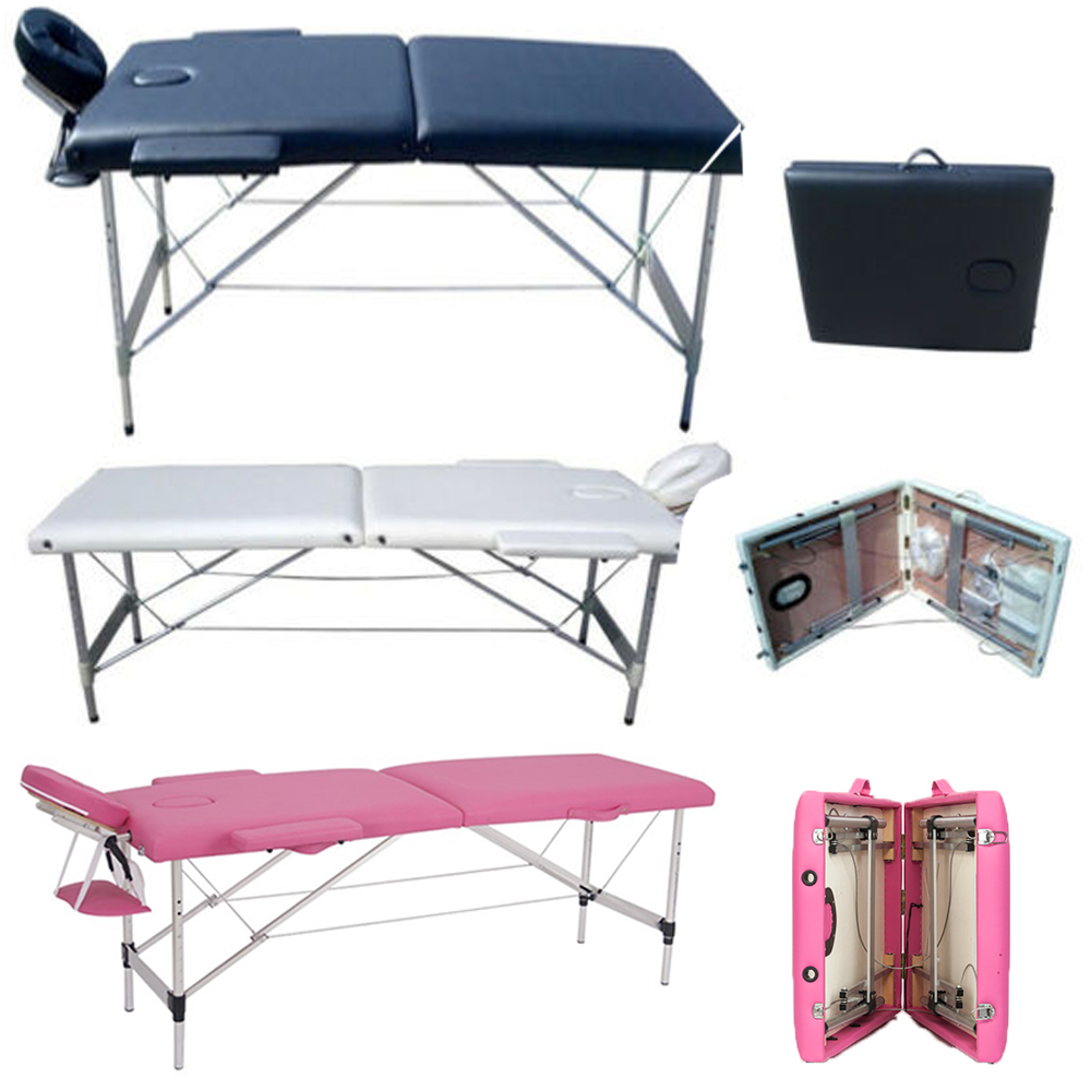 """Zimtown 73"""" - 84"""" Length Folding Portable Aluminum Massage Table with Face Cradle, for Facial SPA and Tattoo"""