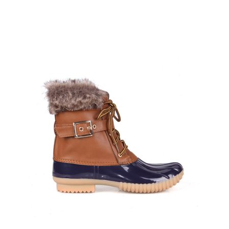 Nature Breeze Faux Shearling Lace Up Women's Duck Boots in Blue Tan