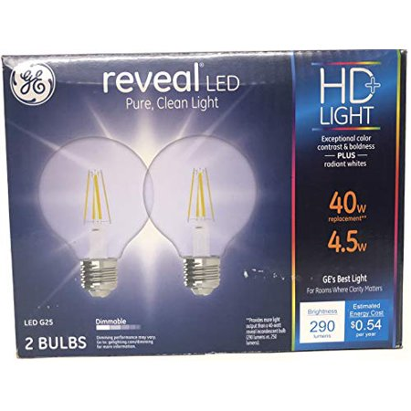 GE Lighting 31911 Dimmable LED Reveal HD G25 Decorative Globe 4.5 (40-Watt Replacement), 290-Lumen Medium Base Clear Finish Light Bulb, 2-Pack, Soft White, 2