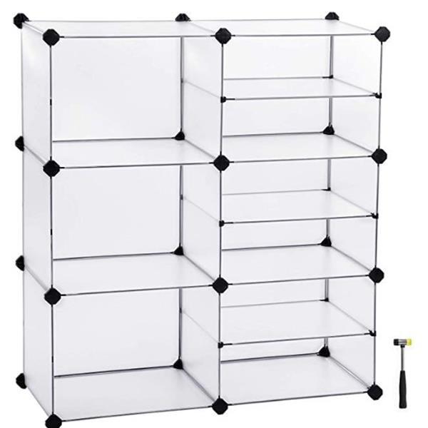 9-Cube Storage Unit, Interlocking Organizer with Divider Design, Modular Cabinet, Bookcase for Closet Bedroom Kid's Room