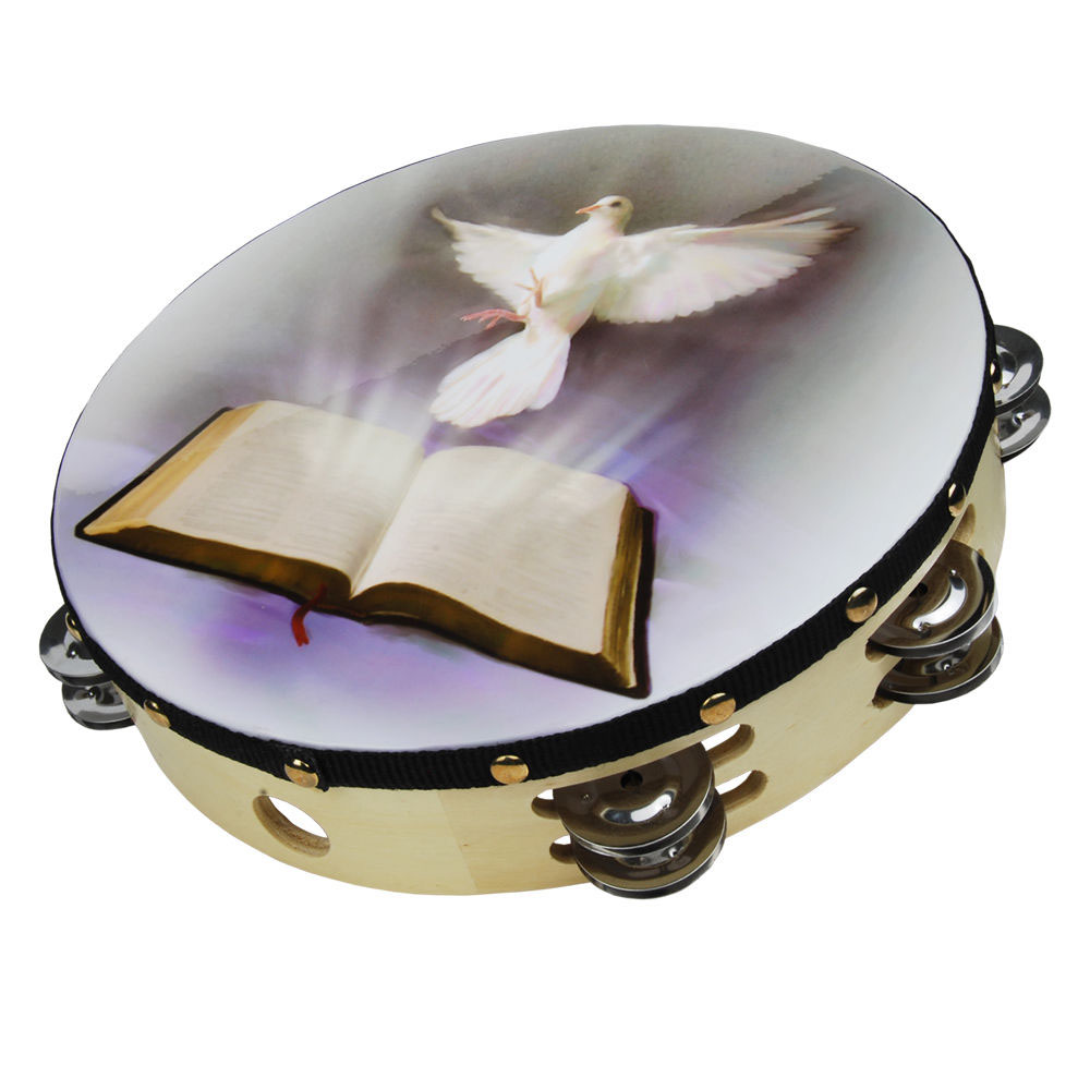 "Nippon 8"" Dove and Bible Tambourine by Nippon"