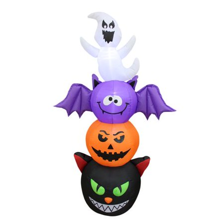 The Holiday Aisle Halloween Stacked Figures Totem Pole Inflatable with Cat, Pumpkin, Bat and Ghost