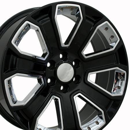 SET of 20x8.5 Wheels Fit GM Trucks - Chevy Silverado Style Black Rim with Chrome Inserts, Hollander 5661