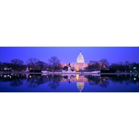 Christmas US Capitol Washington DC District Of Columbia USA Canvas Art - Panoramic Images (36 x 12)