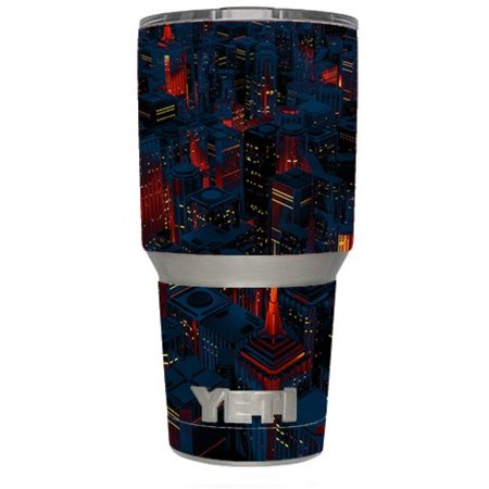 Skin Decal Vinyl Wrap for Yeti 30 oz Rambler Tumbler Cup (6-piece kit) Stickers Skins Cover / City Glow at Night Skyline view
