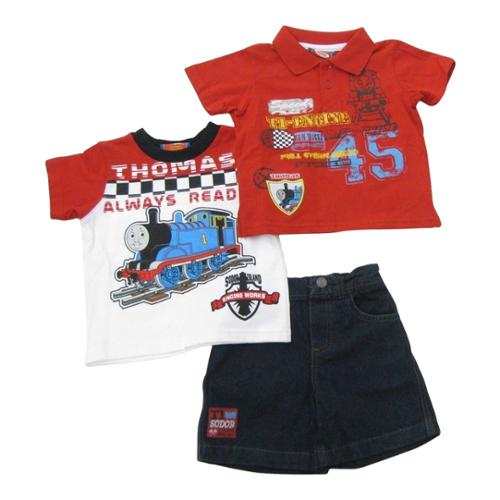 Thomas The Train Baby Boys Red Printed Tops Denim Shorts 3 Pc Outfit 24M