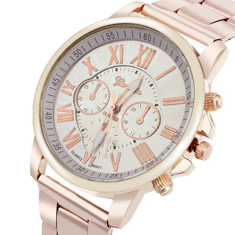Womail Luxury Stylish Fashion Roman Number Geneva Stainless Steel Quartz Sports Dial Wrist Watch