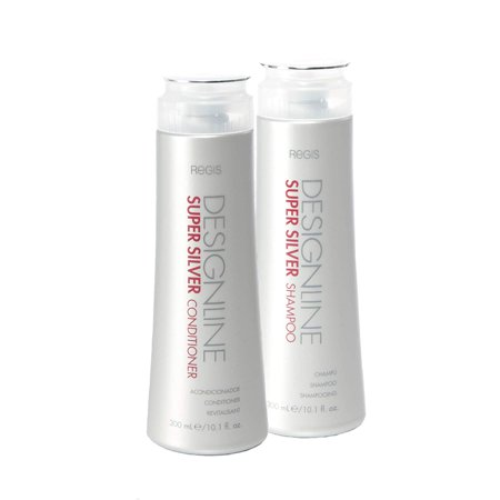 Super Silver Shampoo and Conditioner Duo Pack, 10.1 oz - Regis DESIGNLINE - Restores Moisture, Boost Color for Blonde, Grey, White Hair, Strengthens and Improves Elasticity to Prevent Color - Decadent Duo