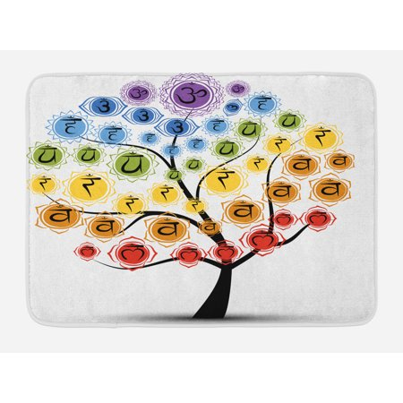 Chakra Bath Mat, Yoga Tree with Branch of Chakra Icon Harmony in Nature Physical Force Theme Print, Non-Slip Plush Mat Bathroom Kitchen Laundry Room Decor, 29.5 X 17.5 Inches, Multicolor, -