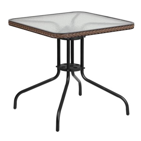 28'' Square Tempered Glass Metal Table with Dark Brown Rattan Edging](The Halloween Tree Ending)