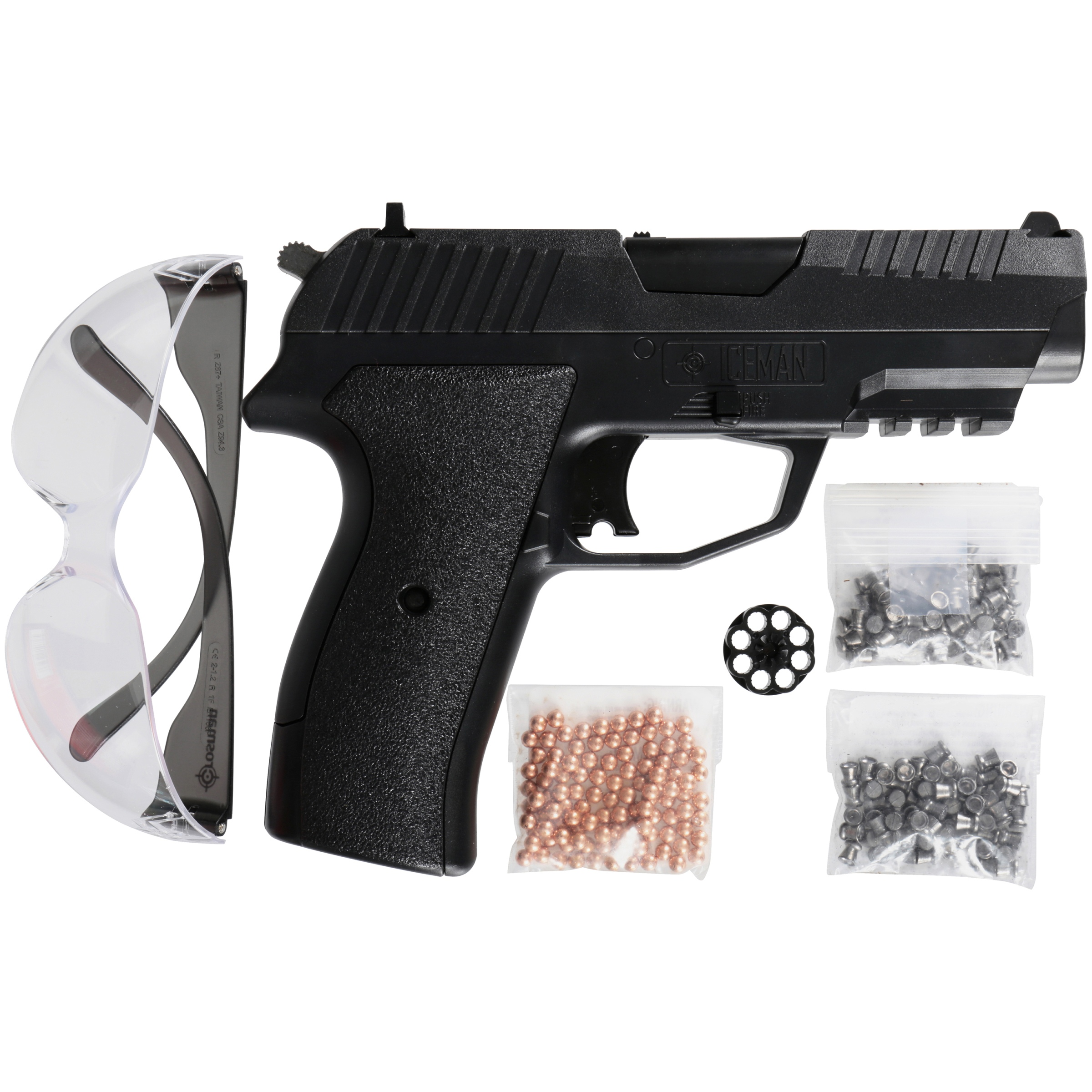 Crosman Iceman CCICE7BKT Air Pistol Kit w/100 BB's, Glasses
