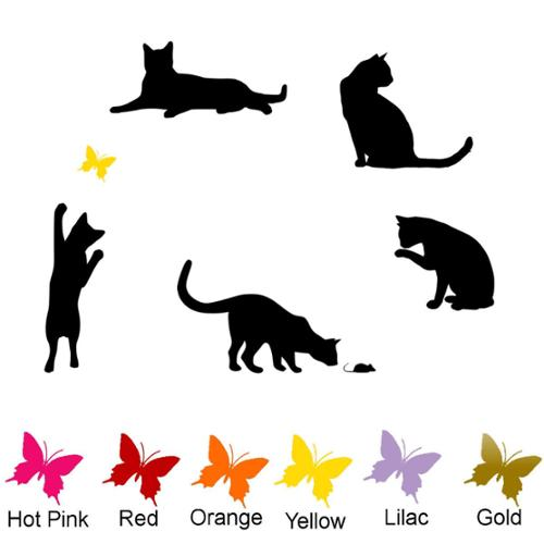 Decal the Walls 5 Pack of Cats with Colored Butterfly Vinyl Wall Art Decal