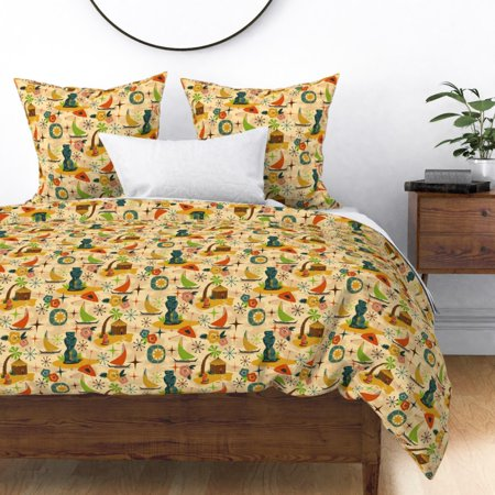 Tiki Statue Head Hut Midcentury Modern Mid Mod Sateen Duvet Cover by Roostery ()