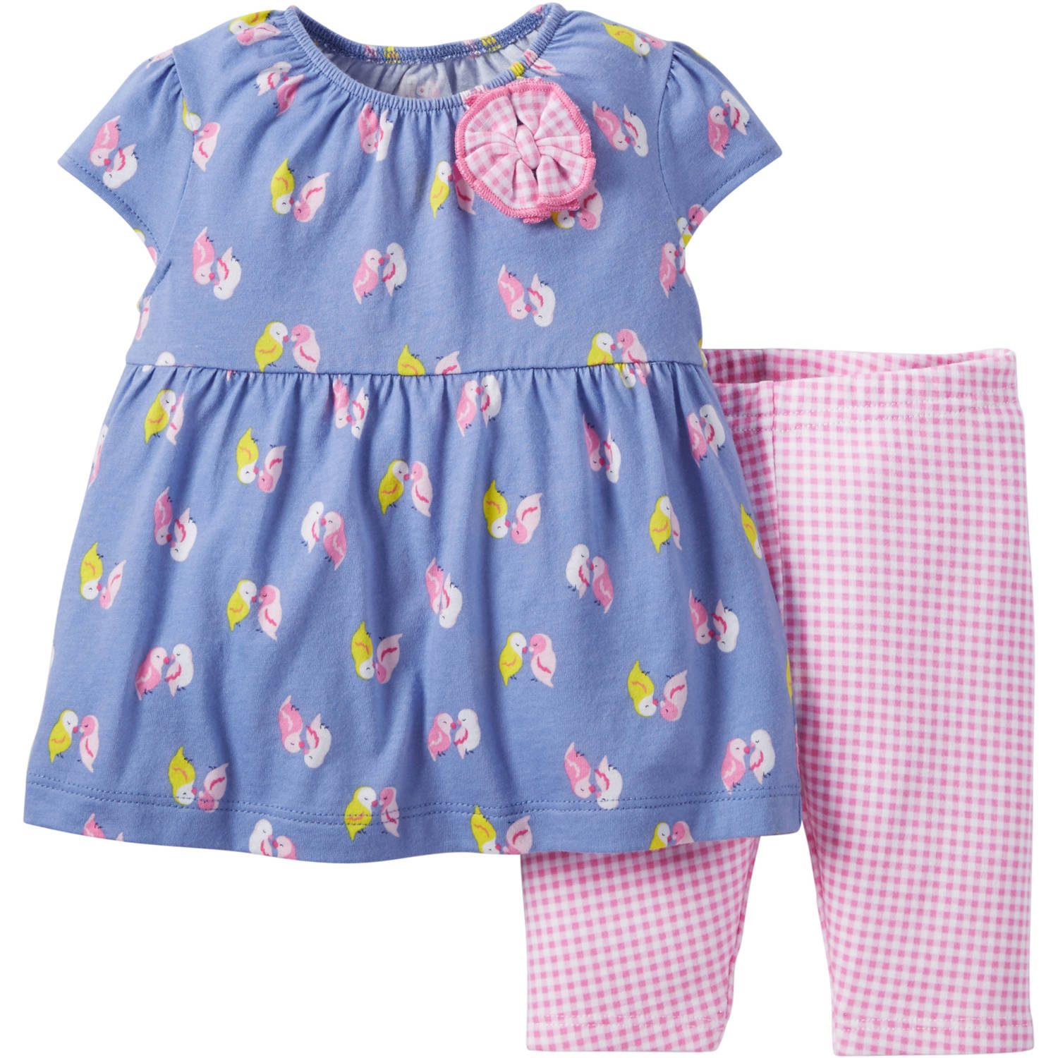 Child of Mine by Carter's Newborn Baby Girl Top and Pant Outfit Set, 2 Pieces