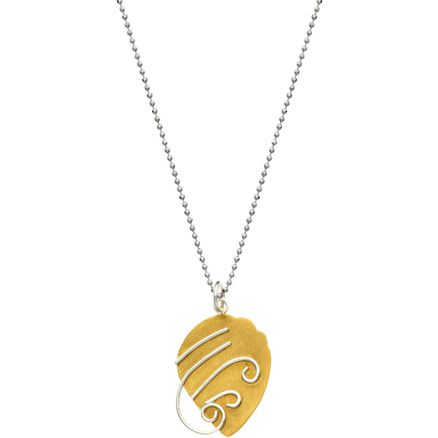 Image of 5th & Main 14kt Gold-Plated and Sterling Silver Acorn with Silver Scroll Pendant Necklace